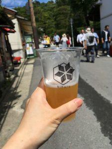 銀閣寺参道でビール