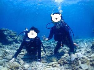 西表島 体験ダイビング 無事に海底へ