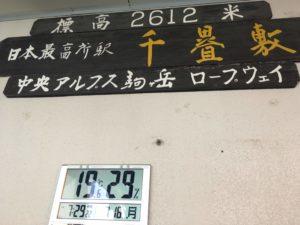 千畳敷駅の気温はなんと19℃