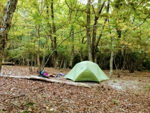 鈴鹿の上高地 テントを張りました