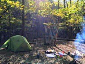 鈴鹿の上高地 朝のテント場