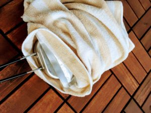 タオルをまきつけ保温