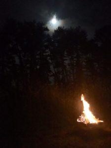 月光と焚き火