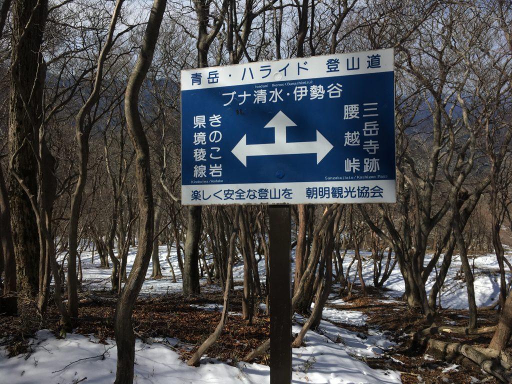 きのこ岩の標識
